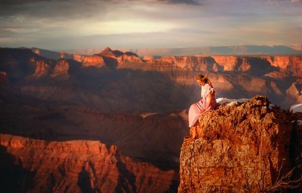 Фото обои камень, TJ Drysdale, девушка, каньон, высота