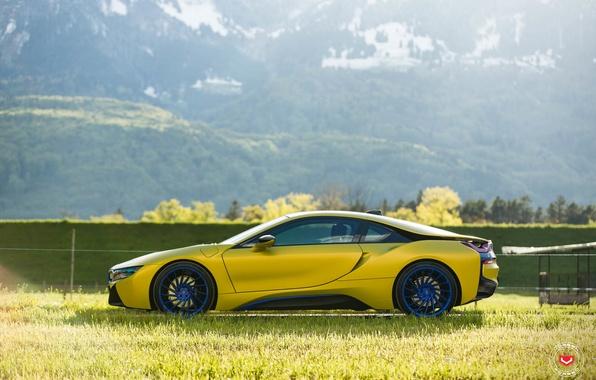 Картинка car, горы, tuning, желтая, bmw i8