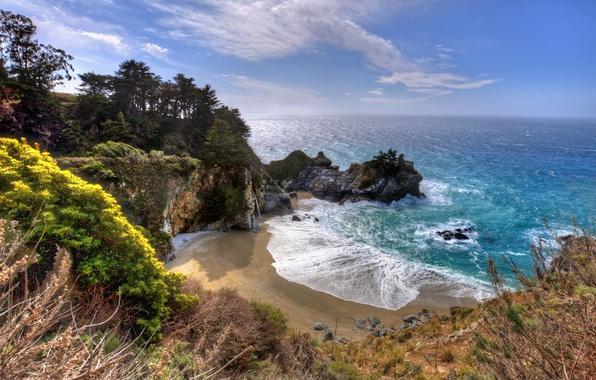 Картинка скала, океан, водопад, бухта, California, Big Sur, McWay Falls, Julia Pfeiffer Burns State Park