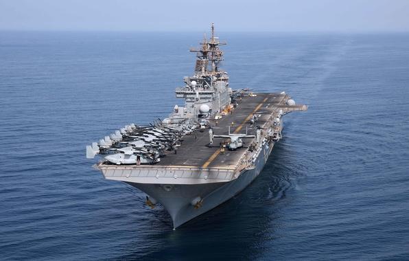 Картинка океан, корабль, USS, десантный, (LHD 3), класса-WASP, Kearsarge
