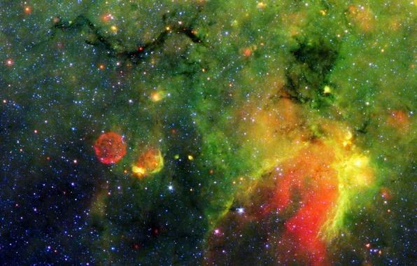 Картинка космос, туманность, газ, зеленое