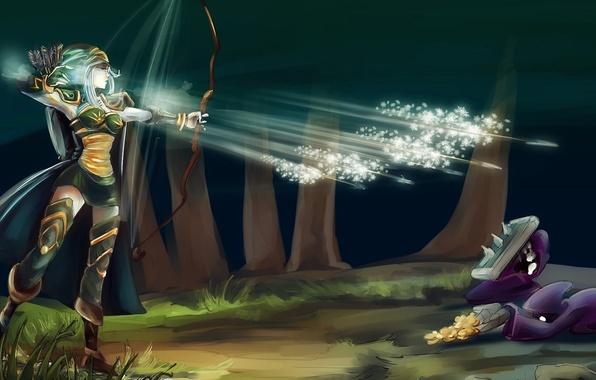 Картинка холод, лес, девушка, снежинки, золото, лук, арт, нападение, стрелы, league of legends, ashe, nfouque