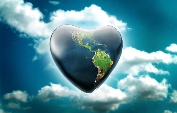 Картинка небо, земля, сердце, планета