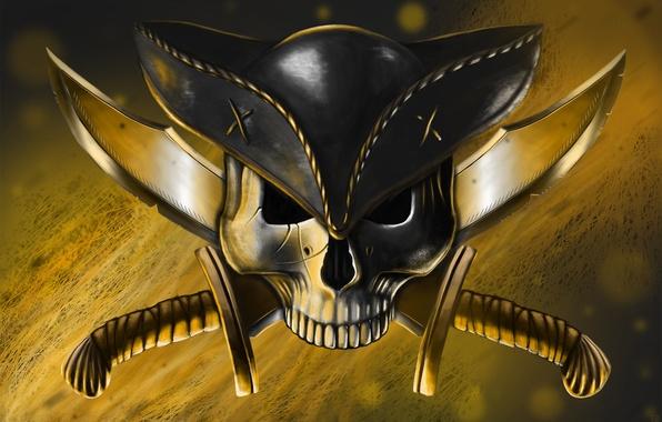 Картинка оружие, череп, шляпа, арт, пират, ножи, веселый роджер