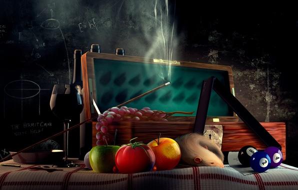 Фото обои шары, бильярд, виноград, доска, помидор, кий, крыса, рюмка