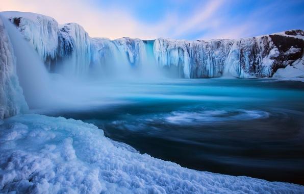Картинка зима, снег, природа, водопад, лёд, Исландия, Декабрь, Godafoss, By Eggles