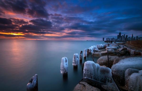 Картинка зима, закат, Чикаго, США