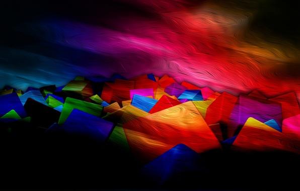 Картинка свет, линии, цвет, текстура, полумрак, объем, квадрат, слой