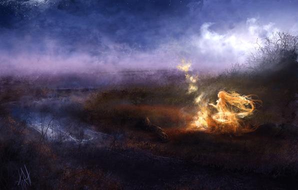 Картинка ночь, магия, арт, девушка, туман, река, огонь