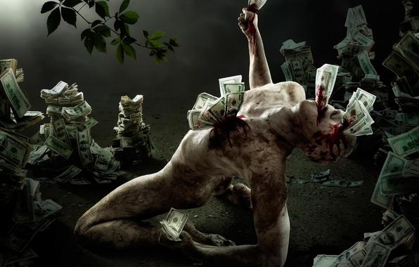 Картинка человек, деньги, фигура, ужас, доллары, алчность, купюры, трэш, жадность
