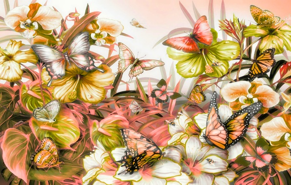 Картинка листья, бабочки, цветы, природа, растения, мотылек