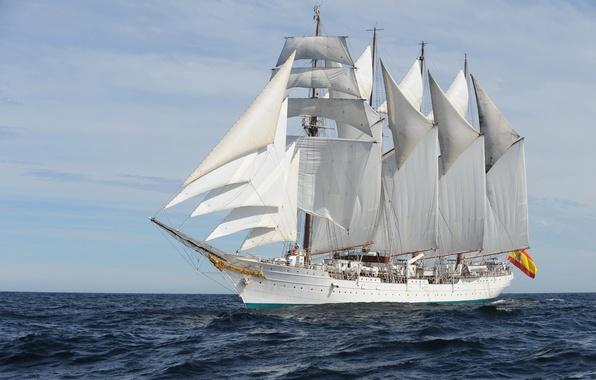 Картинка море, волны, корабль, учебный, Juan Sebastián Elcano, (A-71), бригантина