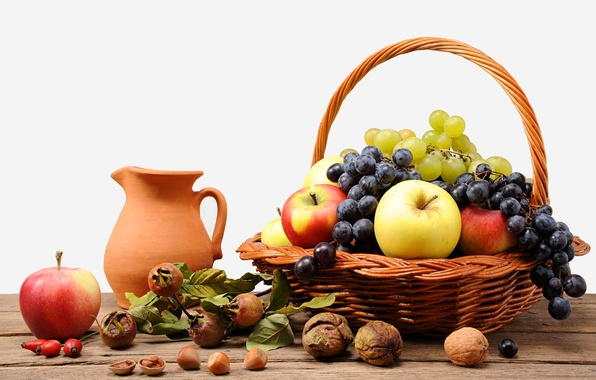 Картинка корзина, яблоки, шиповник, виноград, кувшин, фрукты, орехи
