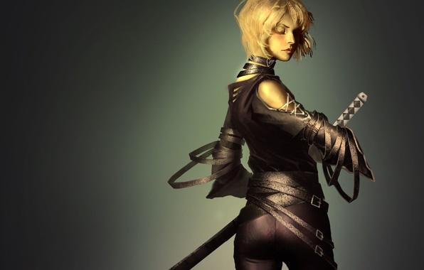 Картинка девушка, меч, катана, арт, блондинка, спиной, ремни