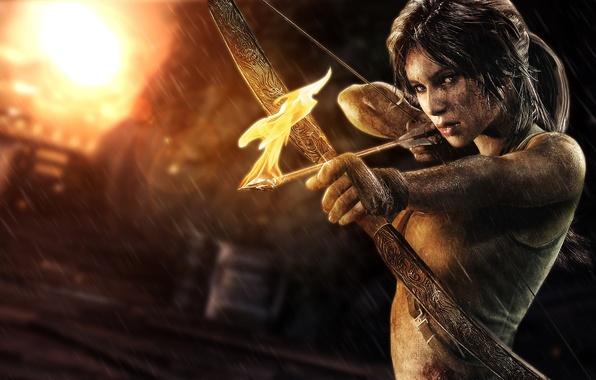Картинка девушка, огонь, лук, стрела, Лара Крофт, lara croft, tomb raider