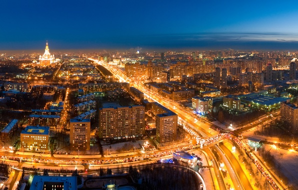 Картинка дорога, ночь, огни, Москва