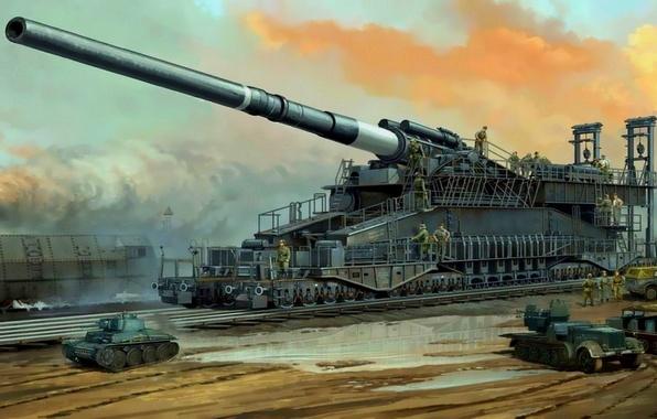 Картинка поезд, армия, солдаты, танк, gun, пушка, германия, soldiers, Germany, ВОВ, train, Army, калибр, tank, орудие, …