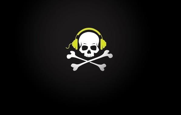 Картинка череп, music, наушники, кости, провод, skull, pirate