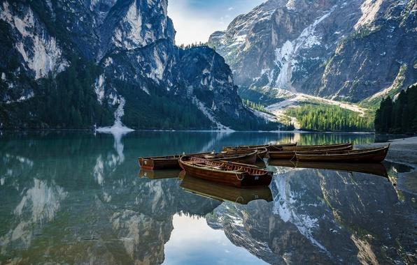 Картинка горы, озеро, лодка, Италия, Доломитовые Альпы