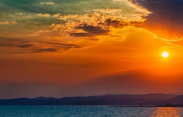 Картинка Закат, Солнце, Небо, Вода, Облака, Океан, Горы, Деревья, Остров, Горизонт