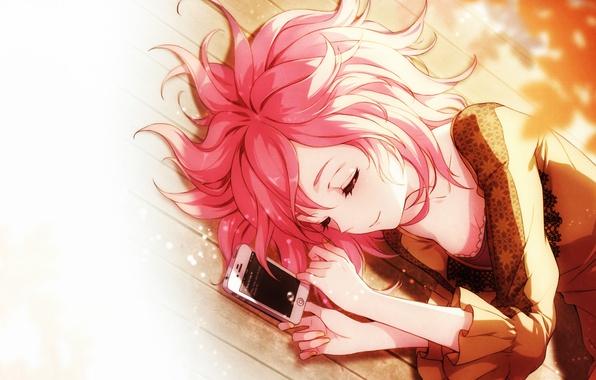 Картинка ресницы, девочка, пол, лежит, телефон, art, AnBla