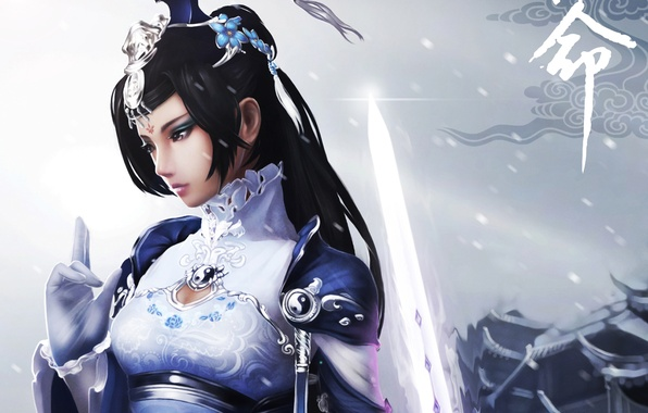 Картинка девушка, снег, меч, art, инь янь, jx online 3, monkey buonarroti