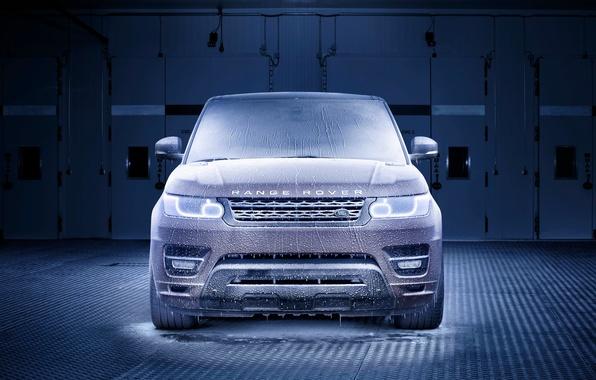 Картинка Авто, Синий, Машина, Лед, Фары, Land Rover, Range Rover, Мороз, Sport, Холод, Передок