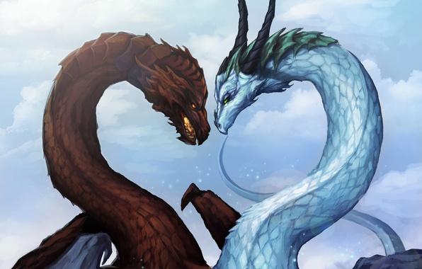 Картинка лед, зима, снег, любовь, фантастика, огонь, драконы, мороз