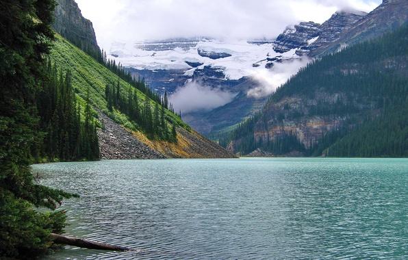 Картинка лес, облака, горы, озеро, Banff National Park, Alberta, Lake Louise, канада