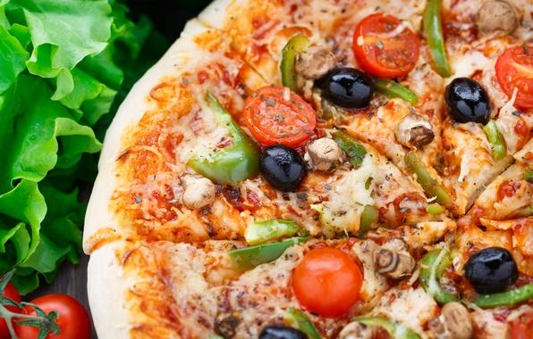 Картинка зелень, green, еда, пицца, food, pizza, начинка, stuffing