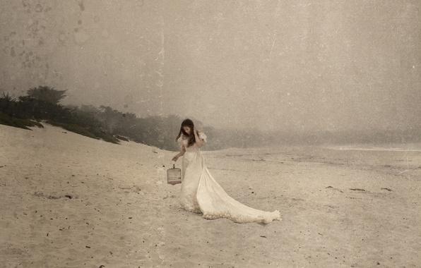 Картинка пляж, стиль, Девушка, клетка, платье, шатенка