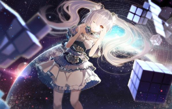 Картинка девушка, космос, улыбка, земля, планета, аниме, арт, кубик, ajahweea
