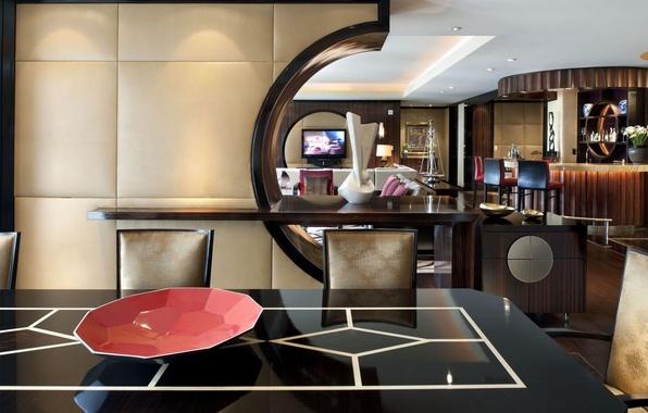 Картинка стиль, стол, стулья, интерьер, телевизор, отель, барная стойка