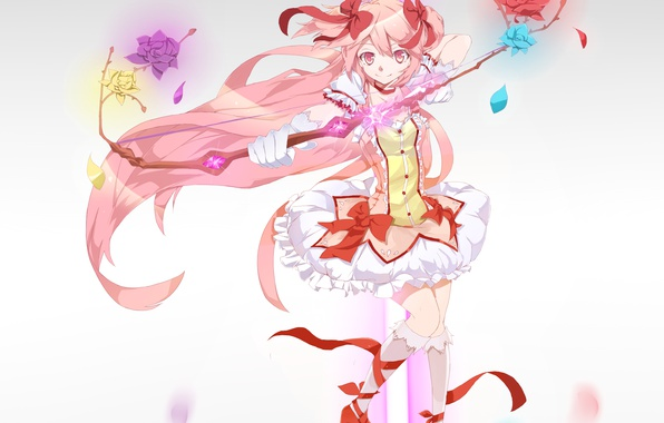 Картинка девушка, цветы, ленты, оружие, розы, аниме, лепестки, лук, арт, mahou shoujo madoka magica, банты, kaname …