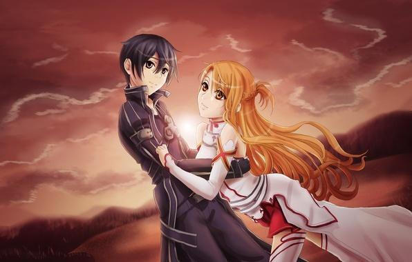Картинка девушка, аниме, парень, Kirito, Asuna, Sword art Online