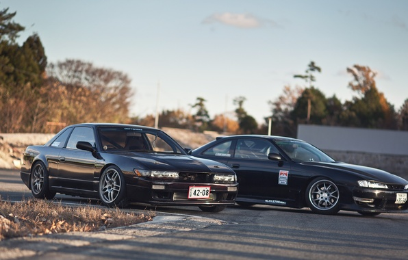 Картинка авто, машины, черная, Silvia, Nissan, автомобиль, black, auto, ниссан, сильвия, s14, сars, S13