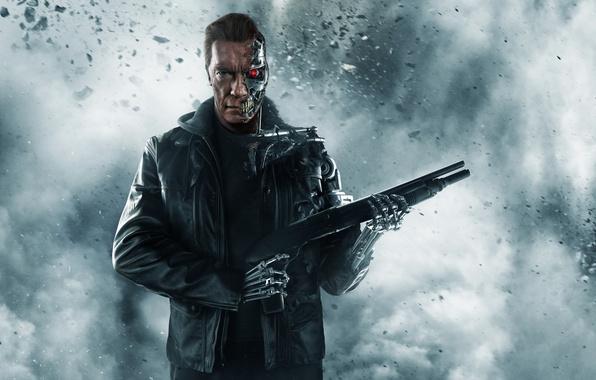Картинка пепел, оружие, фантастика, дым, робот, куртка, киборг, дробовик, постер, Арнольд Шварценеггер, Terminator, Arnold Schwarzenegger, Terminator: …