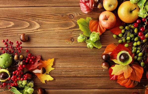 Картинка осень, листья, яблоки, натюрморт, autumn, leaves, fruit, still life, berries, apples, harvest