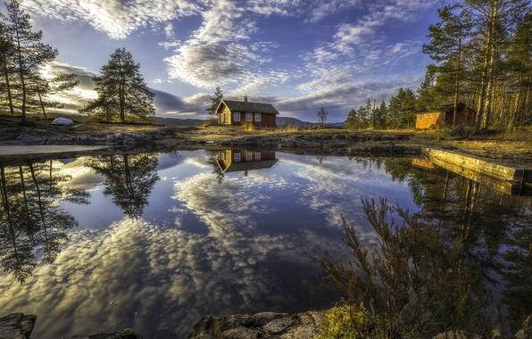 Картинка облака, деревья, озеро, отражение, дома, Норвегия, Norway, Рингерике, Ringerike
