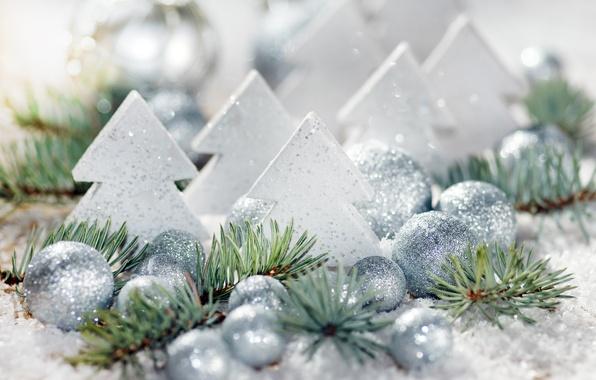 Картинка шарики, шары, игрушки, елка, Новый Год, Рождество, Christmas, New Year, серебристые, елочные