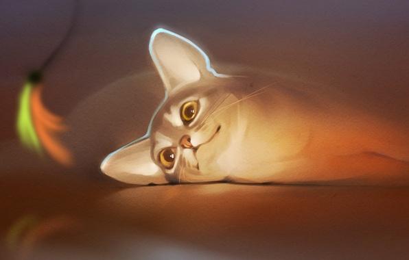 Картинка кошка, кот, взгляд, настроение, арт, ушки