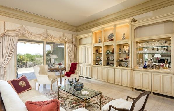 Картинка комната, диван, кресло, окно, подушка, ваза, столик, гостиная