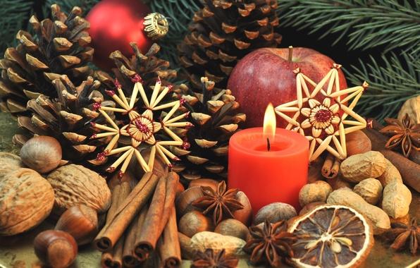 Фото обои сладости, Xmas, Новый Год, Merry, печенье, Рождество, nuts, орехи, Christmas, фрукты, decoration, корица