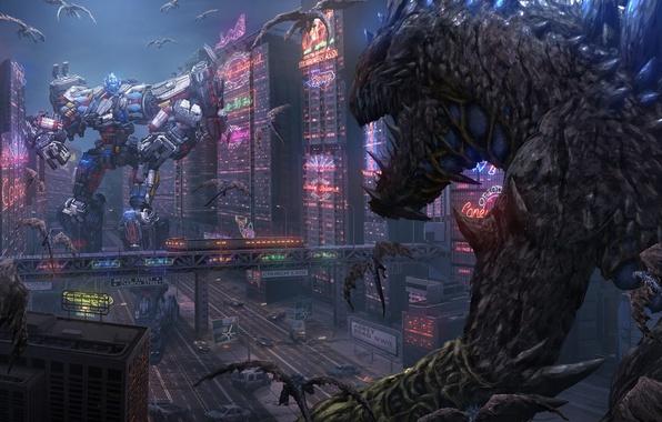 Картинка фантазия, фантастика, робот, дома, бой, монстры, битва, киборг, пришельцы, мегаполис, cyberpunk, гиганты