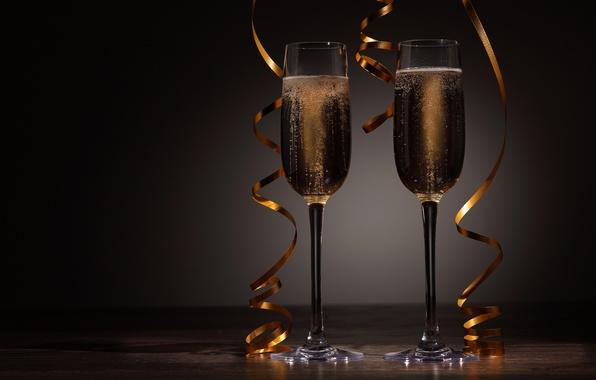 Картинка праздник, Новый Год, бокалы, Рождество, шампанское, Christmas, серпантин, New Year
