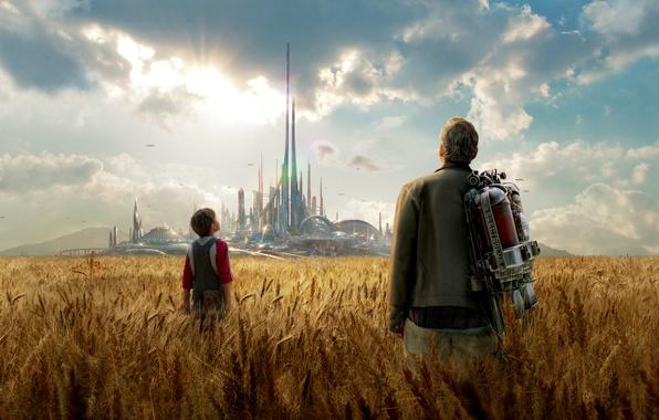 Картинка поле, город, фантастика, колосья, утопия, Джордж Клуни, George Clooney, Tomorrowland, параллельный мир, Земля будущего, баллон