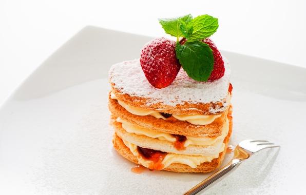 Картинка ягоды, клубника, пирожное, крем, десерт, джем, сладкое