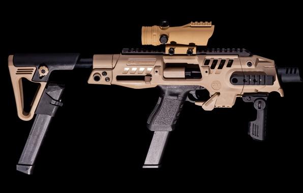 Картинка wallpaper, gun, weapon, Glock, 9mm, hd, 4k, Glock SBR, Glock SBR Pistol