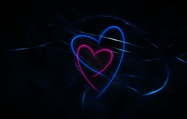 Картинка dark, black, blue, pink, background, lines, hearts, abstraction