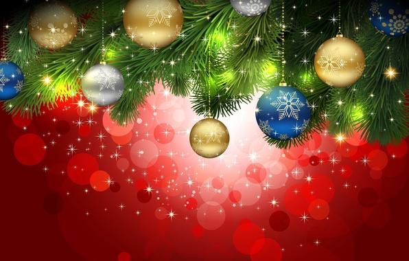 Картинка шарики, украшения, иголки, блики, праздник, шары, узор, игрушки, блеск, рождество, ветка, снежинка